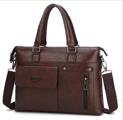 Brands Man bags  Men Business Briefcase Leather Shoulder Bags  Laptop Bag big Travel Handbag Dark brown 36cm x 28cm x6cm