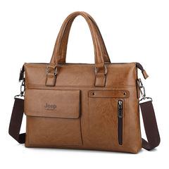 Brands Man bags  Men Business Briefcase Leather Shoulder Bags  Laptop Bag big Travel Handbag light brown 36cm x 28cm x6cm