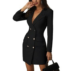 Women dress Office casual 2019 Spring slim suit dresses s black