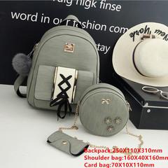 Vintage Backpack Set PU Leather Backpack for Girls School Shoulder Bag 3Pcs/Set Rucksack gray1 one size