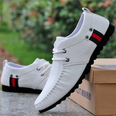 Spring and Autumn Peas Shoes Men's New Soft Leather Casual Men's Casual Shoes Single Shoes white 39 pu