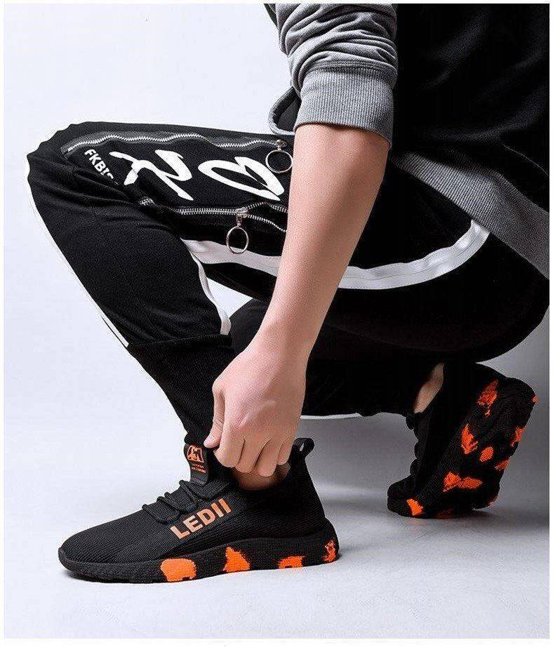 Men Sneakers Male Shoes Casual Shoes Lightweight Comfortable Non-slip Soft Mesh Men Shoes Summer New Orange 39 6