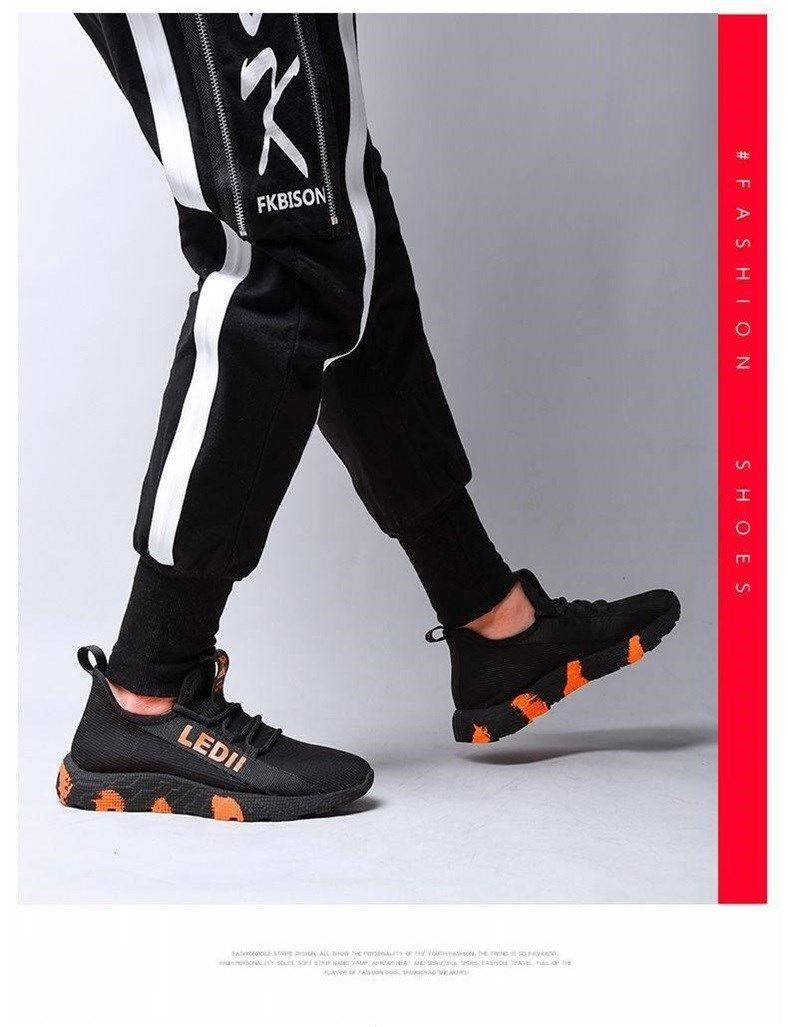 Men Sneakers Male Shoes Casual Shoes Lightweight Comfortable Non-slip Soft Mesh Men Shoes Summer New Orange 39 9