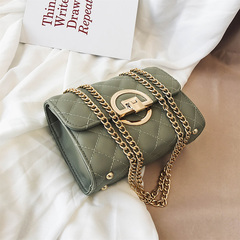 Fashion Small Square Bag Handbag 2019 High-quality PU Leather Chain Mobile Phone Shoulder bags Green one size