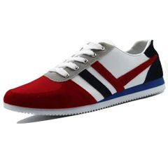 Men shoes fashion casual sports shoes comfortable Korean running shoes Red 44