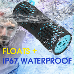 Portable Bluetooth Speaker, IP67 Waterproof, Wireless, Handsfree, for Party, Outdoor, shower, hiking blue 18x6.5x6.5 cm