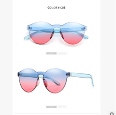Ladies transparent  sunglasses  cute gradient ramp Stylish jelly - colored eyeglasses 02 one size