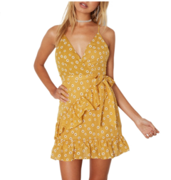 Women's hot style print halter top sexy dress xl yellow