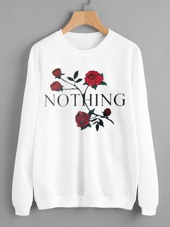 women swear rose print and velvety turtleneck sweater wihte S