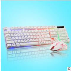 Computer keyboard and mouse set of mechanical feel and backlight, color light white one size
