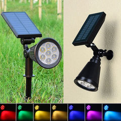 Outdoor solar lawn lamp 7LED color changing courtyard lamp, ground lamp and wall lamp black 3W