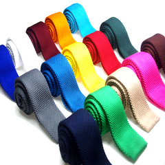 Men's Slim Square End Solid Knitting Neckties Narrow Skinny Kintted Ties Adult Entertainment Wedding golden one size