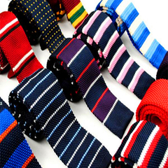 Men's Slim Square End Knitting Neckties Narrow Skinny Striped Lattice Pattern Kintted Ties For Adult A1 one size