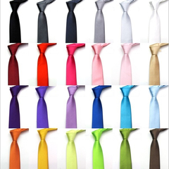 Fashion Men's Slim Solid Colour 8cm Neckties For Adult Business Office Lady Ties Hand Make One Piece black one size