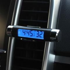 2 in1 Digital Backlight car Thermometer Clock ,Blue digital LED backlight Outlet thermometer clock Black 85*24mm