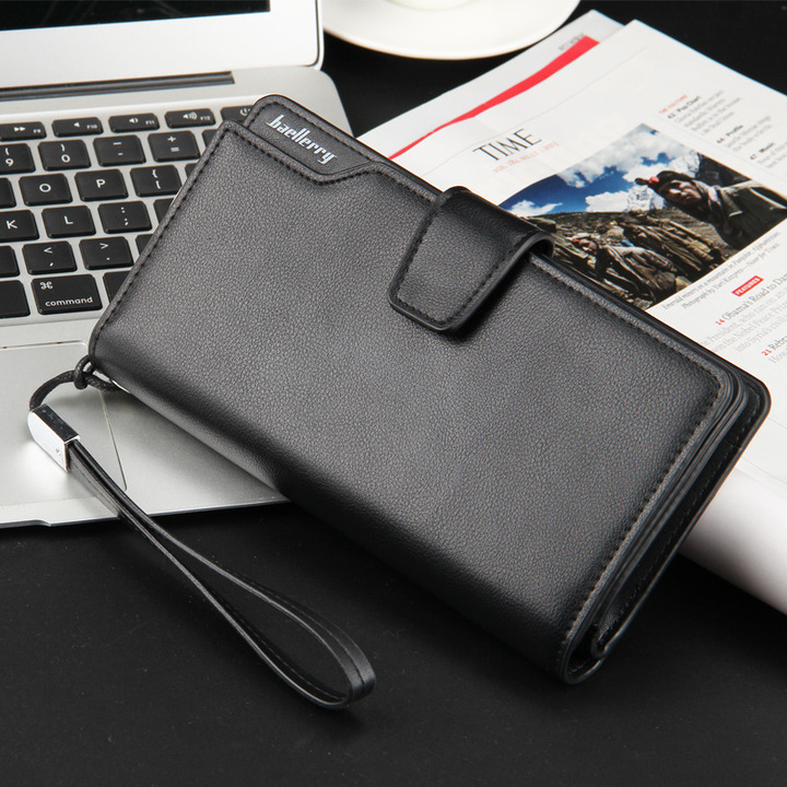Good Quality leather  Men's long wallet,  multi-functional handbag, mobile phone bag Black 19.5 cm * 10.5 cm * 3.0 cm