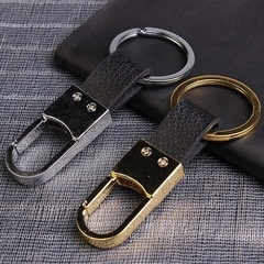 Fashionable and honorable car key chain.Metal and leather car key ring,Simple and fashionable style silver one size