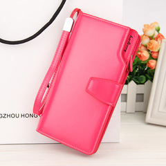 Women's long purse, women's PU handbag, multi-functional business wallet, iphone bag red 19*10.5*2cm
