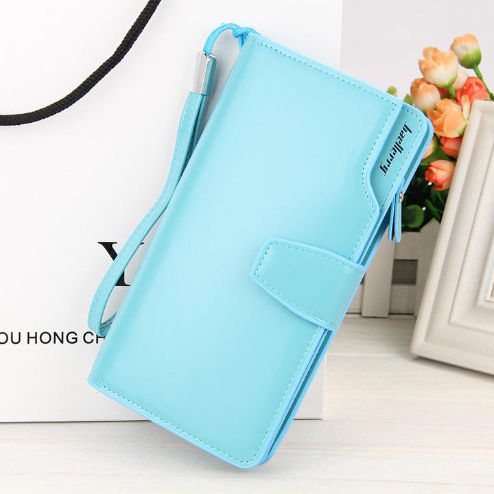 Women's PU long purse, women's bags, multi-functional business purse, iphone bag Sky blue 19 * 9.5 * 2.5 cm