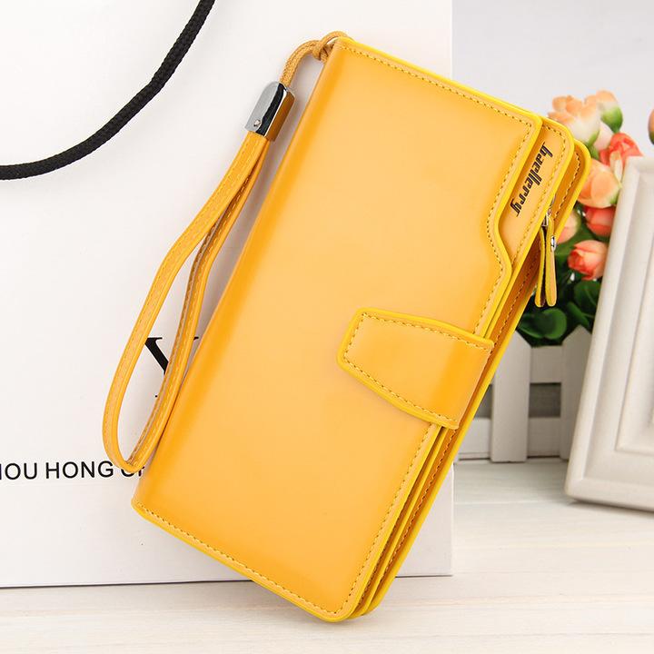 Women's long purse, women's PU handbag, multi-functional business wallet, iphone bag yellow 19*10.5*2cm