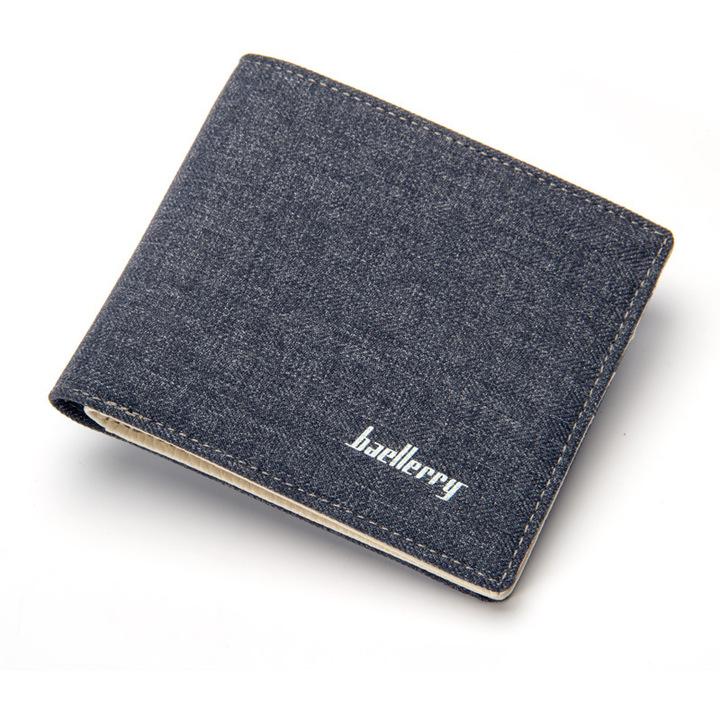 Men's short wallet, canvas wallet, simple and comfortable men's bag, men's card bag, coin wallet blue 11*9*2cm