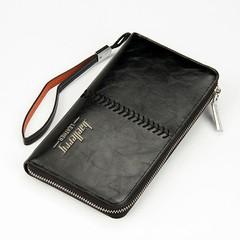 Classic men's long PU wallet, men's hand bag, men's mobile phone bag, multi-functional wallet dark coffee 20 * 11 * 2.5 cm