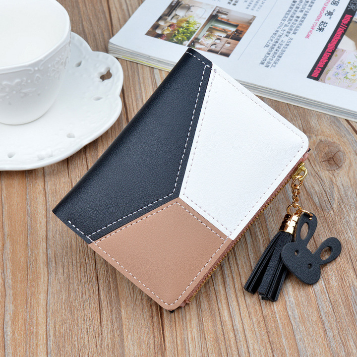 Short wallets for women, multi-function wallets, lady's purse and handbags, PU handbag for women black 12 * 9 * 1.5 cm