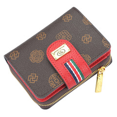 classic women's short purse, zipper bag, multi-functional lady's wallet,card bag,Super high quality red 11.5*9*3cm