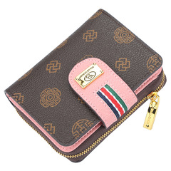 classic women's short purse, zipper bag, multi-functional lady's wallet,card bag,Super high quality pink 11.5*9*3cm