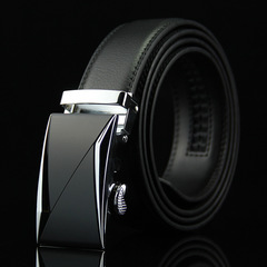 High quality 100% cowhide leather belt for men, genuine leather automatic buckle belt Black 105`125cm