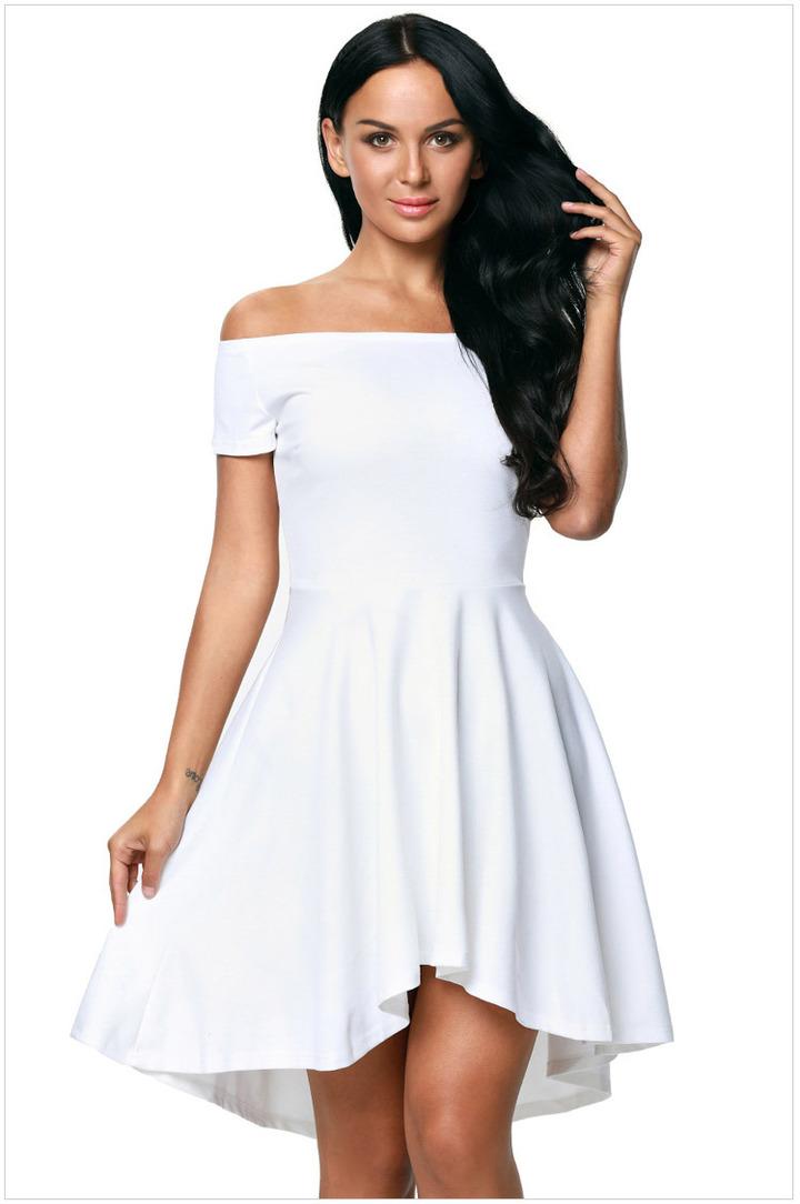 bcde5397e787 Explosion models 2019 summer one shoulder short-sleeved large swing  swallowtail skirt dress. l