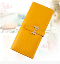New women's wallet Korean version of the two folds women's wallet crocodile pattern long wallet Yellow Long section