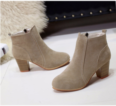 Short Boots Martin Boots Women's High Heeled Boots and Ankle Boots Women's Shoes. khaki 35