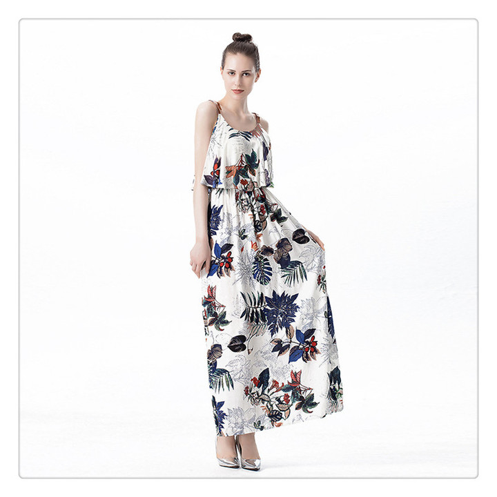 Lotus leaf edge long skirt printing 2019 spring and summer women's dress. m white