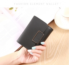 short ladies wallet buckle wallet mini wallet student purse card package black one size