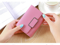 short ladies wallet buckle wallet mini wallet student purse card package dark pink one size