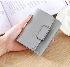 short ladies wallet buckle wallet mini wallet student purse card package light gray one size