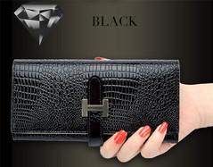 New women's wallet Korean version of the two folds women's wallet crocodile pattern long wallet black one size