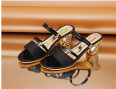 One pair of shoes wearing 2019 new women wearing thick with open toe sandals and slippers black 35