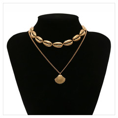 Simple ethnic style Bohemian personality new alloy shell multi-layer necklace clavicle chain gold one size