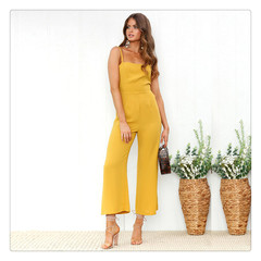 Straight sling one-shoulder backless nine-point wide-leg pants breathable waist jumpsuit. yellow S