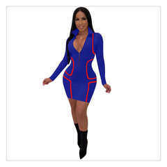Sexy V-neck zipper long-sleeved dress European and American striped stitching hip skirt s blue