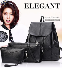 Women's backpack pu three-piece cover mother bag fashion college wind travel backpack handbag black Three-piece mother package