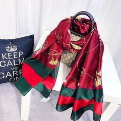 2019Europe USA Fashion Silk Scarves Cape lady elegant Women beach Scarf necker chief Red White Pink Red