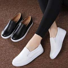 Europe Fashion Ladies shoes Casual Flats Women shoes Office loafers flats Cow leather white black black 41