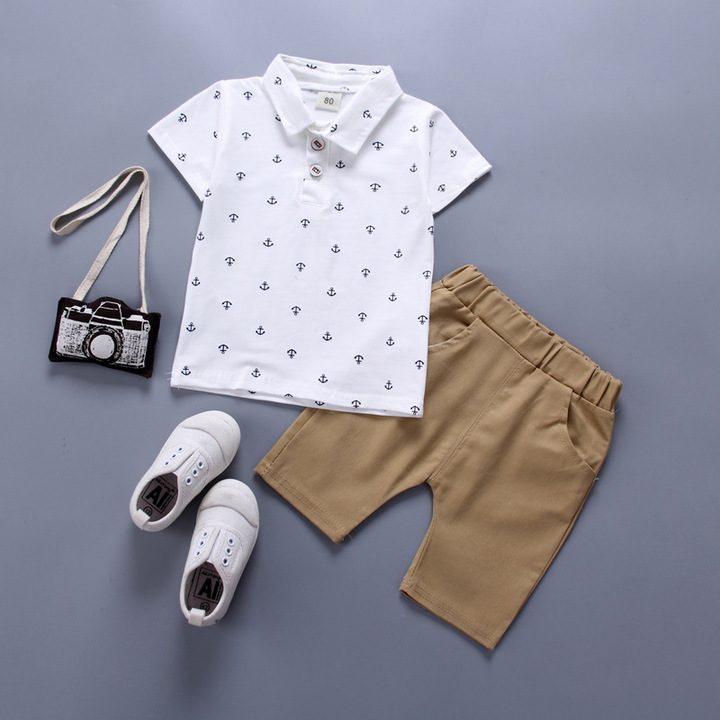 Fashion Kids clothes boys clothes boys wear Polo shirt trousers Formal White Navy Top and pants White 90 Cotton