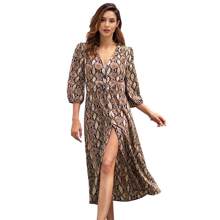 2019 New Women Snake Printed Long Dresses Empire Deep V,Neck Button Printed  Dresses for Ladies xl khaki