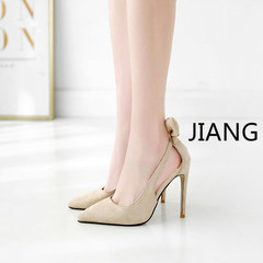 2019 New Office Kitten Heels shoes  Women Flock Pumps Stilettos Pointed Toe Lady Shoes High Heels cream 40