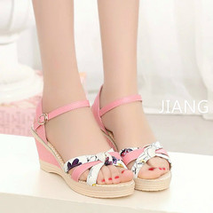 2019 Platform Sandals Wedges shoes Women Prin Buckle Strap Weave Thick Bottom Sandals Ladies Open Pink 41