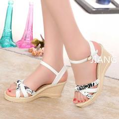 2019 Platform Sandals Wedges shoes Women Prin Buckle Strap Weave Thick Bottom Sandals Ladies Open White 39